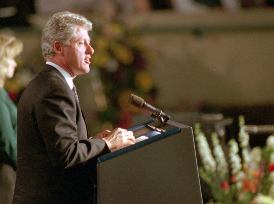 Photo -  President Bill Clinton addresses the memorial service days after the bombing of the Murrah Building on April 23, 1995. [THE OKLAHOMAN ARCHIVES]