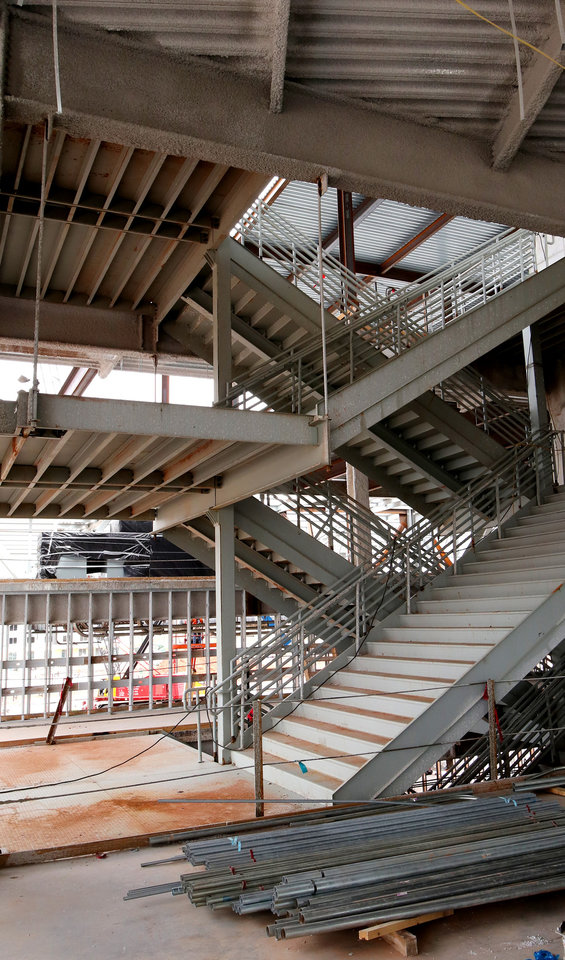 Photo - Main stair case on the north end. City of Oklahoma City tour of the construction site for the new convention center, Friday, April 12, 2019. Photo by Doug Hoke/The Oklahoman