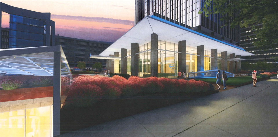 Photo -  A proposed BancFirst makeover of Cotter Ranch Tower will include light wells and skylights opening up to The Underground tunnels and retail concourse. [Rendering Provided]