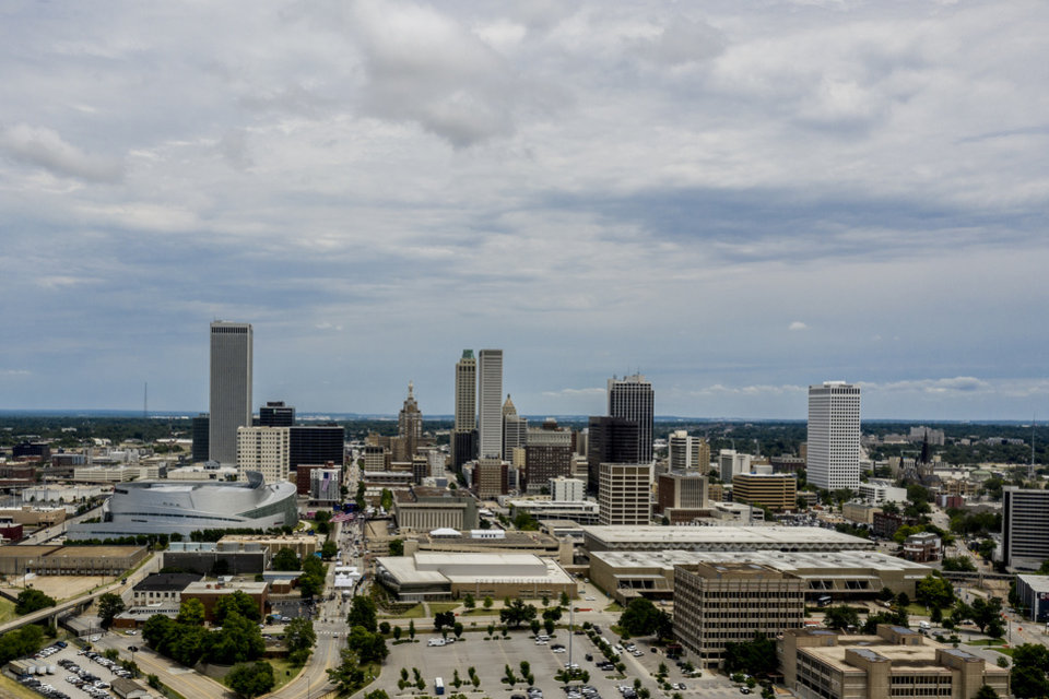 Photo - 6/20/20 1:38:25 PM -- Tulsa, OK, U.S.A  -- Views of the BOK Center and downtown Tulsa ahead of protests in Tulsa, Okla. on Saturday, June 20, 2020 as President Donald Trump visits the city for his first campaign rally since the start of the coronavirus pandemic. --    Photo by Shane Bevel, Freelance
