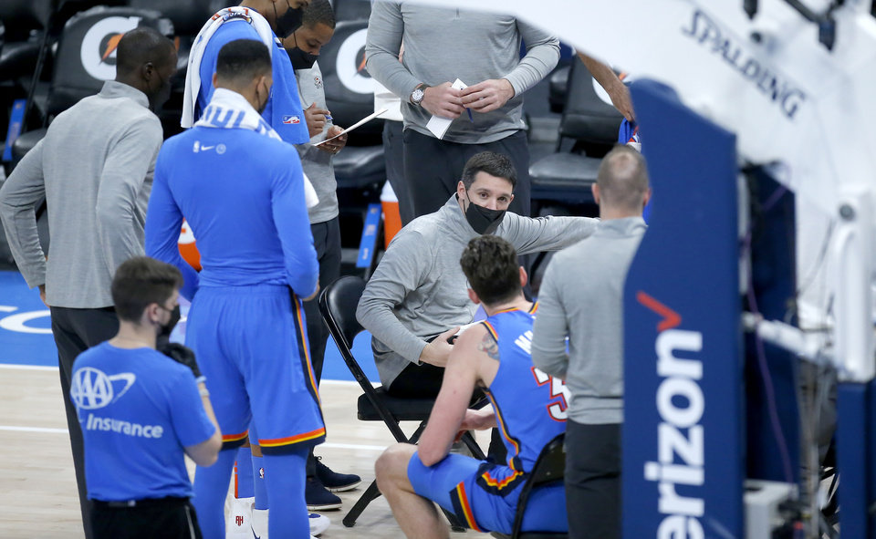 Photo - Oklahoma City head coach Mark Daigneault talk to the team during a time out during the NBA basketball game between the Oklahoma City Thunder and and the Minnesota Timberwolves at the Chesapeake Energy Arena, Friday, Feb. 5, 2021. Photo by Sarah Phipps, The Oklahoman