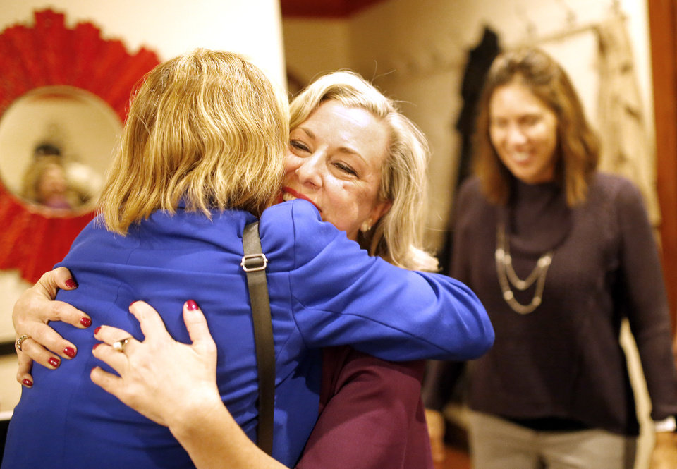 Photo - Melinda Olbert congratulates Kendra Horn hugs after defeating incumbent Steve Russell to the U.S. House of Representative  at her watch party in Oklahoma City, Tuesday, Nov. 6, 2018. Photo by Sarah Phipps, The Oklahoman
