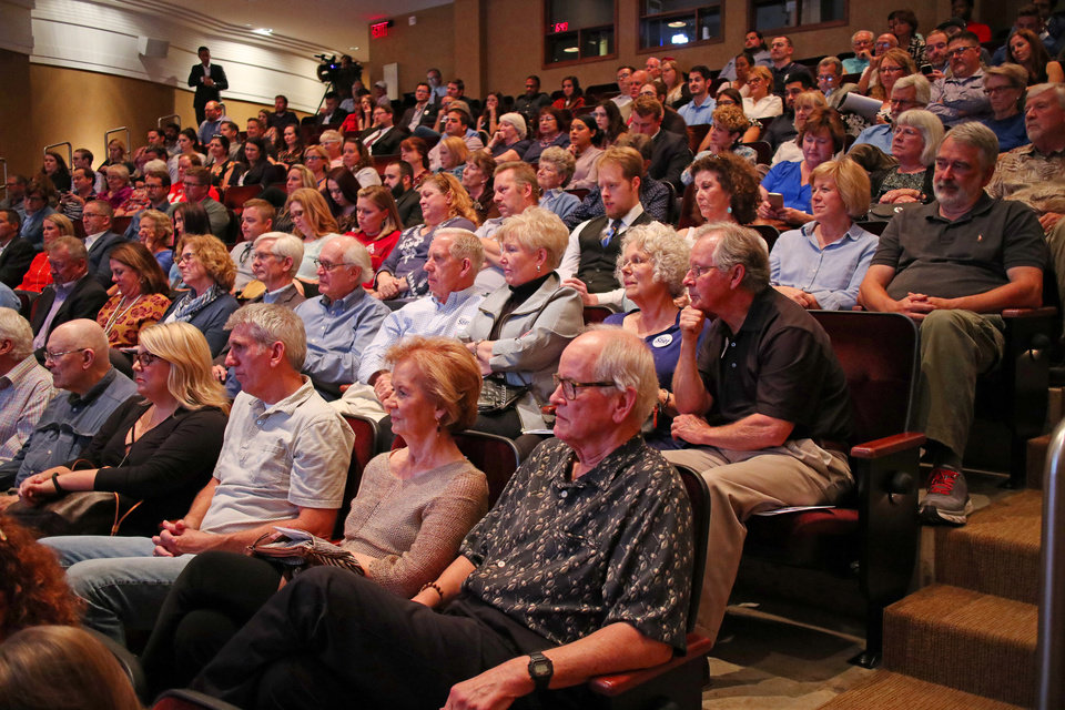 Photo - The audience listen to the candidates during The Oklahoman's Gubernatorial Forum at the Oklahoma City Museum of Art, Monday, September, 24, 2018.  Photo by Doug Hoke, The Oklahoman