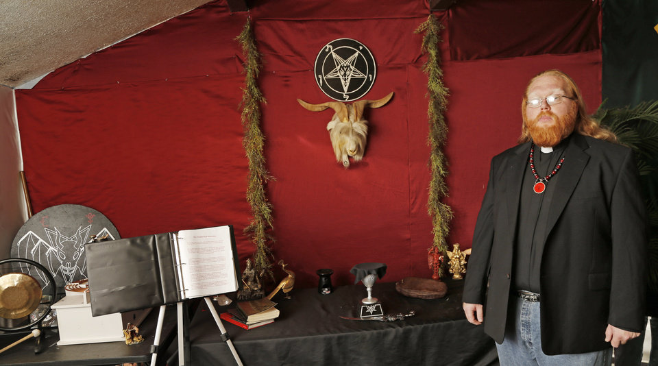 Photo - Satanist Adam Daniel, who is holding a Satanic Black Mass at the Oklahoma City Civic Center Sunday, Sept. 21, 2014, in his ritual chamber, Friday, Sept. 19, 2014. Photo by Doug Hoke, The Oklahoman