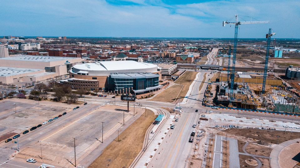 Photo -  Aerial image of Chesapeake Energy Arena and construction along Oklahoma City Boulevard earlier this year. [Dave Morris/The Oklahoman file]