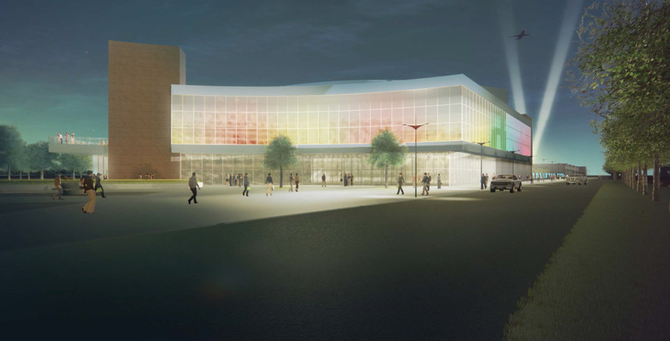 Photo -  Architects drew up conceptual drawings for a new State Fair Park arena designed especially to host the many national and international horse shows and competitions held annually in Oklahoma City. [Populous]