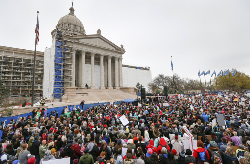 Photo - The rally on the south side of the state Capitol during a walkout by Oklahoma teachers, in Oklahoma City, Monday, April 2, 2018. Photo by Nate Billings, The Oklahoman