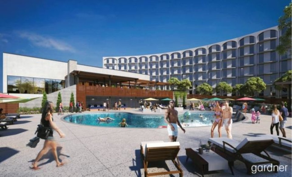 Photo -  The pool and courtyard that were once part of the former Lincoln Plaza hotel, foreground, will be brought back to life with new amenities as part  of conversion into a mix of apartments, eateries and offices. [RENDERING BY GARDNER ARCHITECTS]