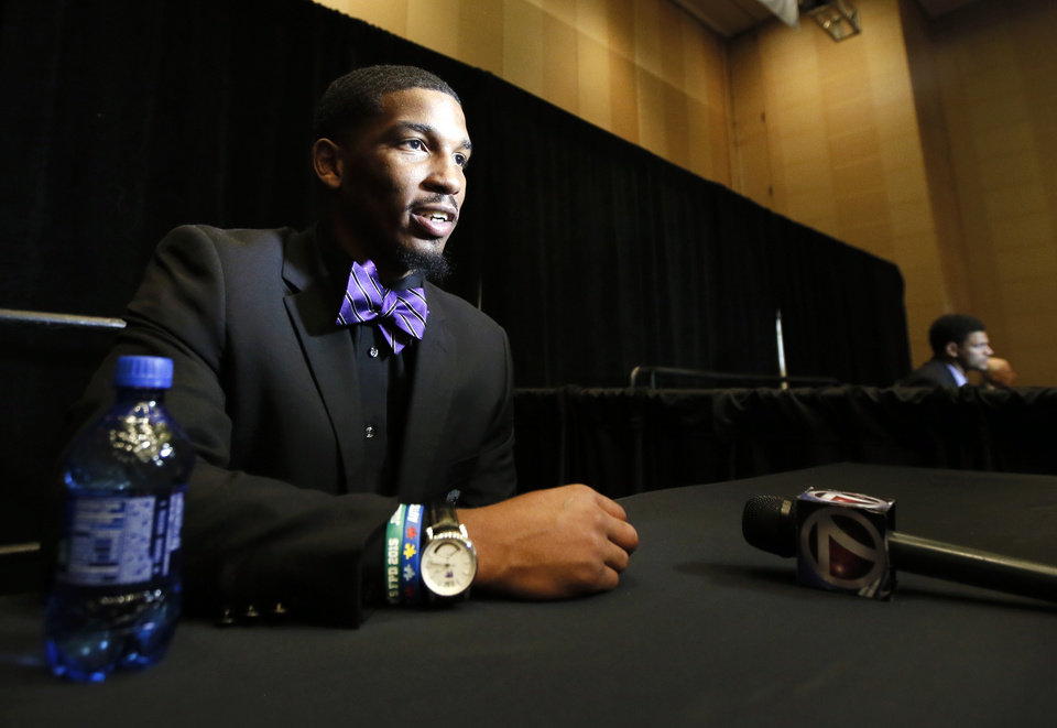 Photo - Kansas State defensive back Dante Barnett talks with reporters at Big 12 Conference Football Media Days Monday, July 20, 2015, in Dallas. (AP Photo/Tony Gutierrez)