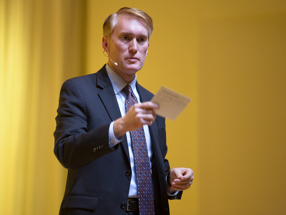 Photo -  U.S. Sen. James Lankford speaks during a 2017 town hall meeting in Edmond. [Photo by Bryan Terry, The Oklahoman Archives]