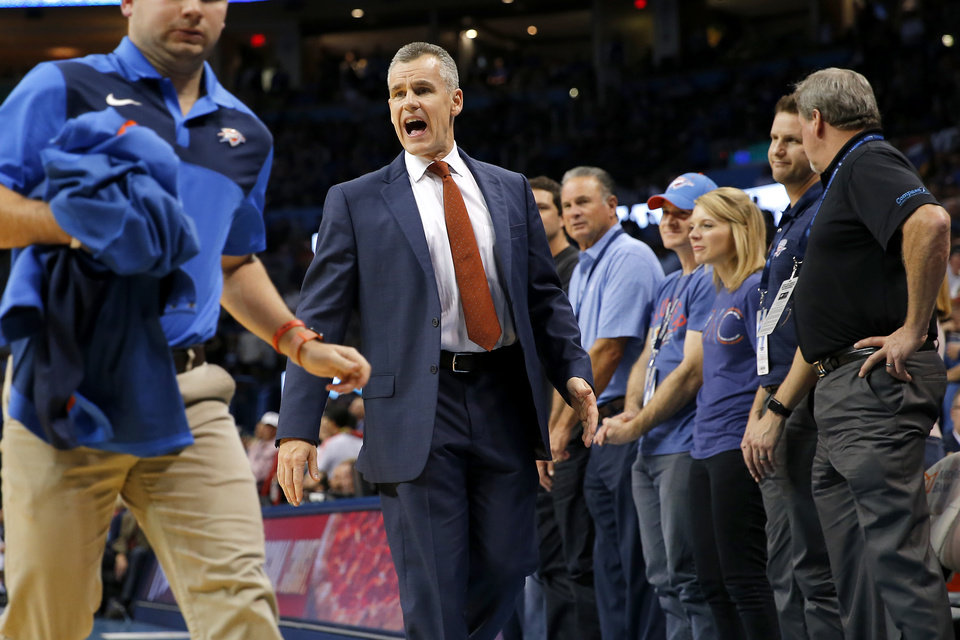 Photo - Oklahoma City coach Billy Donovan shouts during an NBA basketball game between the Oklahoma City Thunder and the Sacramento Kings at Chesapeake Energy Arena in Oklahoma City, Sunday, Oct. 21, 2018. Photo by Bryan Terry, The Oklahoman
