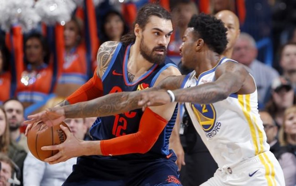 Photo -  Steven Adams averaged 13.9 points and 9.5 rebounds per game this season for the Thunder. [Sarah Phipps/The Oklahoman]
