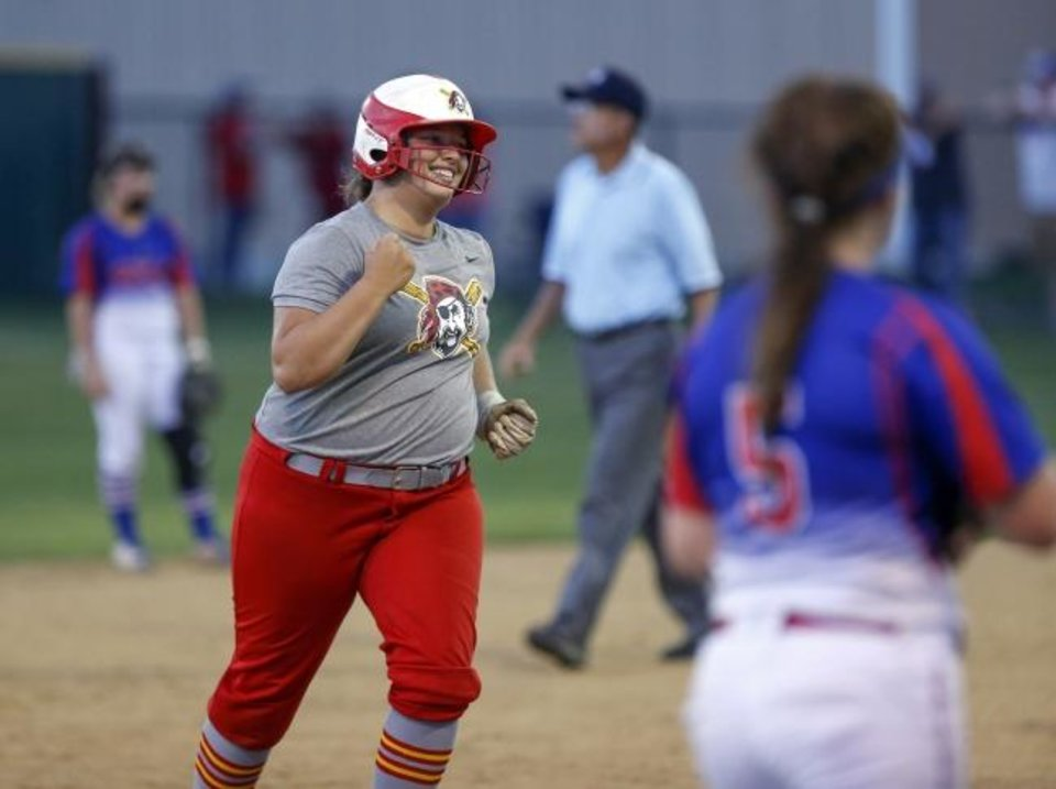 Photo -  Dale's Delanie Manning runs the bases after hitting a home run in the second inning during the Class 4A state championship earlier this month. [Nate Billings/The Oklahoman]