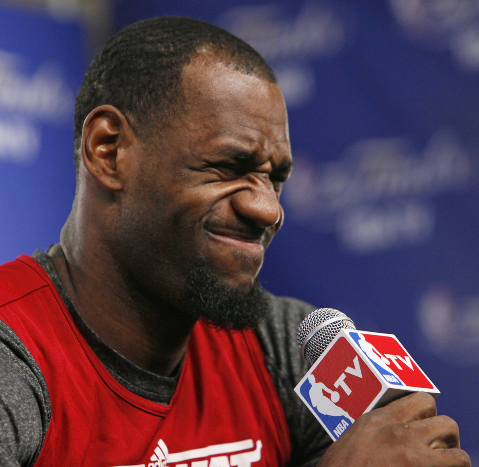 Photo - Miami's LeBron James makes a face during media and practice day for the NBA Finals between the Oklahoma City Thunder and the Miami Heat at the Chesapeake Energy Arena in Oklahoma City, Monday, June 11, 2012. Photo by Nate Billings, The Oklahoman