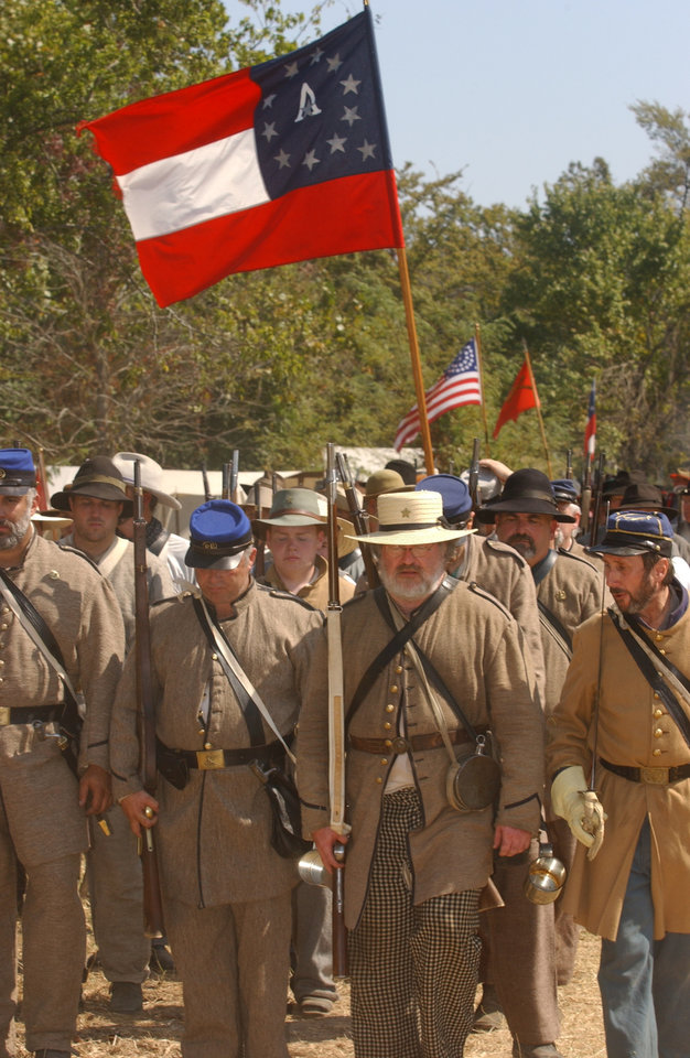 Photo - Re-enactors play out the Battle of Honey Springs.	OKLAHOMA TOURISM		ORG XMIT: 1001151714541402
