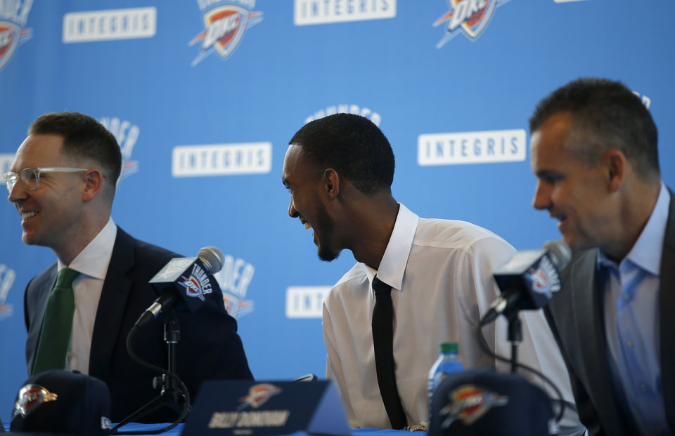 Photo - Oklahoma City's Terrance Ferguson laughs during an introductory press conference a the CHK | Central Boathouse in Oklahoma City, Saturday, June 24, 2017. Photo by Sarah Phipps, The Oklahoman