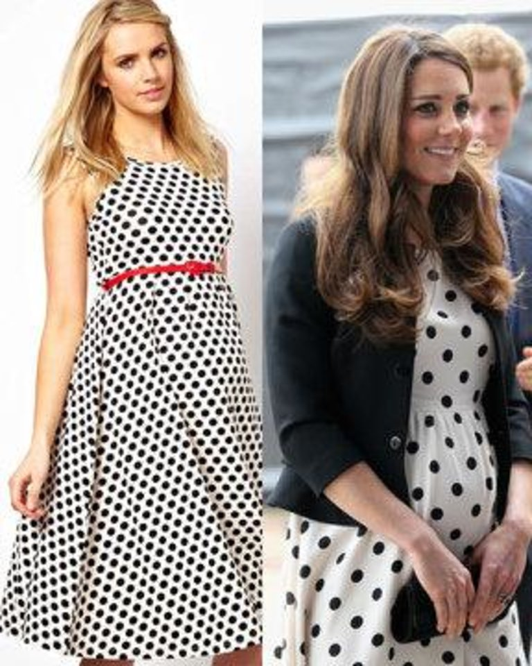 Photo - Left: Asos Maternity polka dot dress with empire waist and red belt. Photo provided. Right: Pregnant Kate Middleton, Duchess of Cambridge, wears a polka dot dress from Topshop. AP Photo.