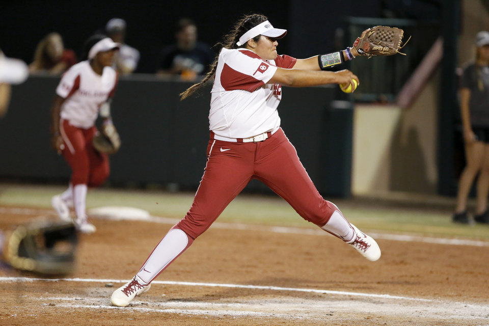Photo - Oklahoma's Mariah Lopez (42) pitches during the Norman Regional NCAA softball tournament game between the University of Oklahoma (OU) and UMBC in Norman, Okla., Friday, May 17, 2019. Oklahoma won 12-0.  [Bryan Terry/The Oklahoman]
