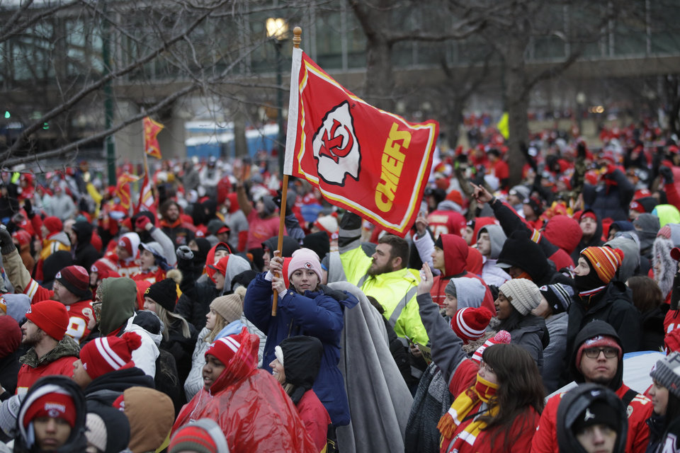 Photo - Kansas City Chiefs fans gather for a Super Bowl parade and rally in Kansas City, Mo., Wednesday, Feb. 5, 2020. (AP Photo/Orlin Wagner)