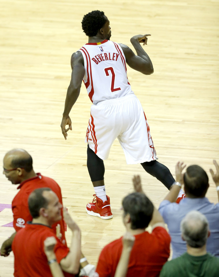 Photo - Houston's Patrick Beverley (2) celebrates a basket during Game 2 in the first round of the NBA playoffs between the Oklahoma City Thunder and the Houston Rockets in Houston, Texas,  Wednesday, April 19, 2017.  Photo by Sarah Phipps, The Oklahoman