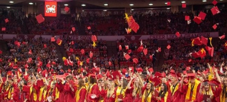 Photo -  New graduates of Mustang Public Schools celebrate. [PROVIDED]