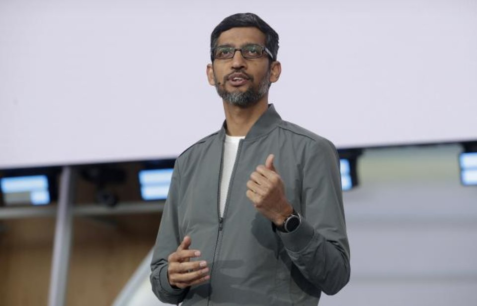 Photo -  Google CEO Sundar Pichai speaks during the keynote address of the Google I/O conference in Mountain View, Calif. [AP PHOTO]