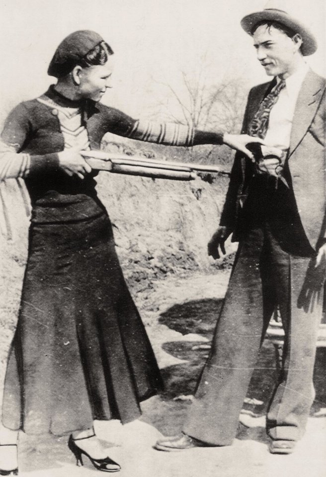 Photo - Bonnie Parker and Clyde Barrow, legendary criminals.