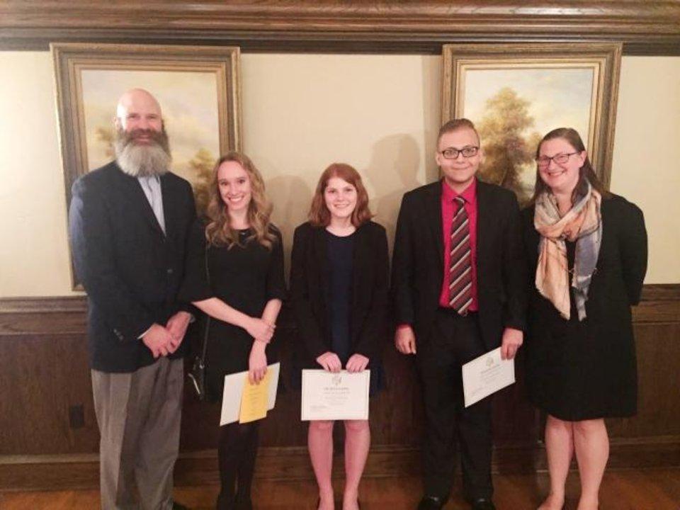 Photo -  Phillip B. Brown, Katherine C. Schoeffler, Brittany G. Shrader, Kenneth R. Halstied III and Jennifer Atwood.