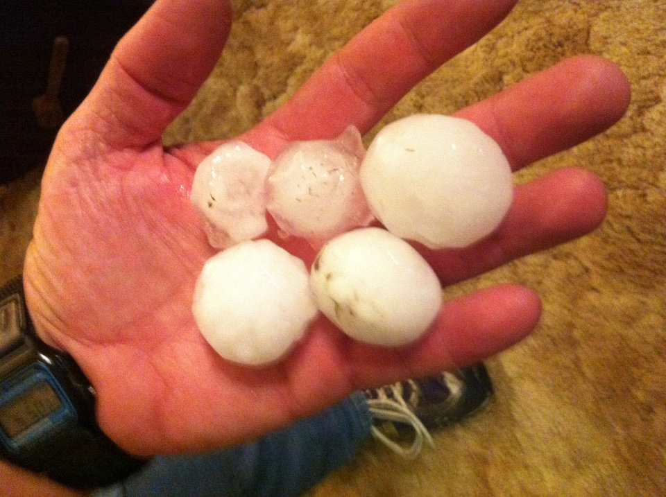 Photo - Hail on the west side of Norman, off 48th Avenue NW between Main and Robinson. Photo via Pat Gilliland