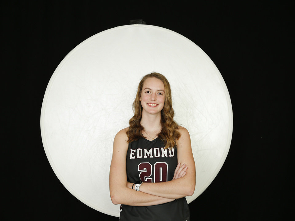 Photo - Edmond Memorial basketball player Katelyn Levings during The Oklahoman's winter high school sports media day at Bishop McGuinness High School in Oklahoma City, Wednesday, Nov. 13, 2019.  [Bryan Terry/The Oklahoman]