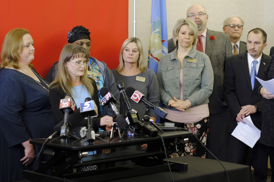 Photo -  Kim Morris, a pre-kindergaten teacher at Mannford Early Childhood Center, speaks March 8 during a media conference at the Oklahoma Education Association. [Photo by Doug Hoke, The Oklahoman Archives]