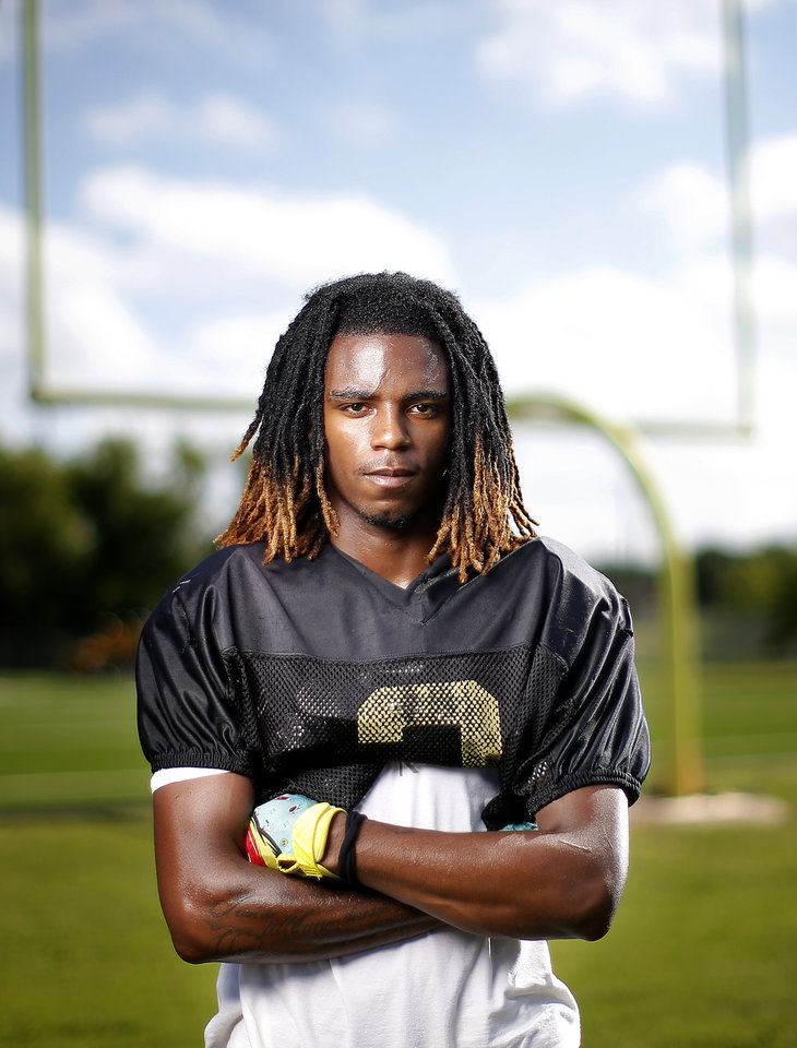 Photo - Midwest City's Makale Smith poses for a photograph at Midwest City High School in Midwest City, Okla., Tuesday, July 7, 2020. Photo by Sarah Phipps, The Oklahoman