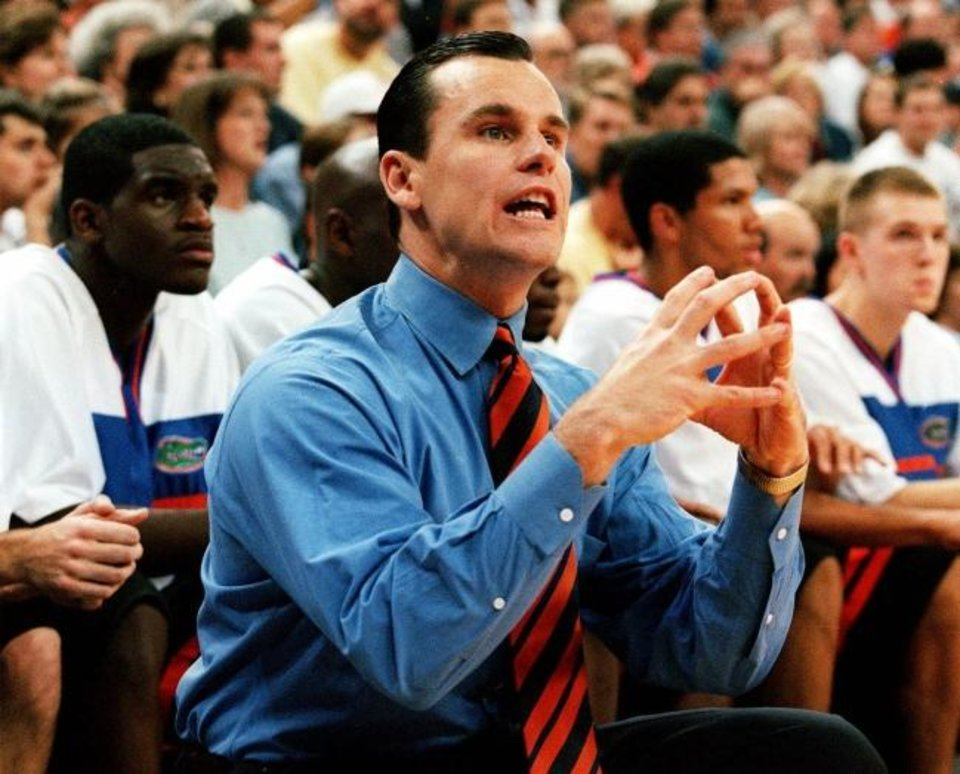 Photo -  Billy Donovan won 71.5% percent of his games in 19 seasons as Florida's head coach with four Final Four appearances and two NCAA titles. [1999 AP FILE PHOTO]