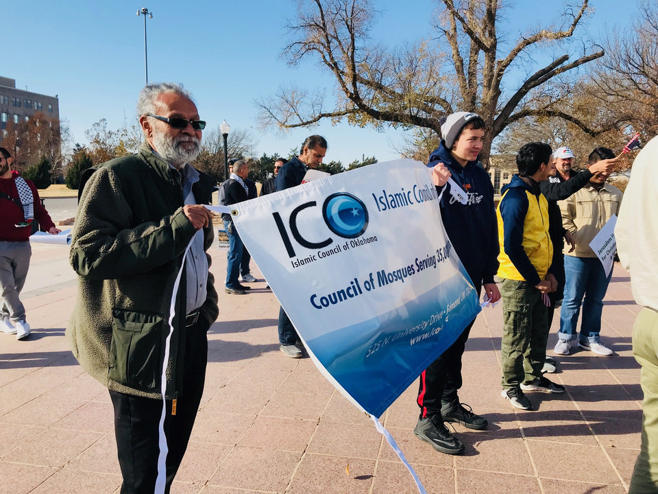 Photo - An Islamic Council of Oklahoma banner is displayed at the