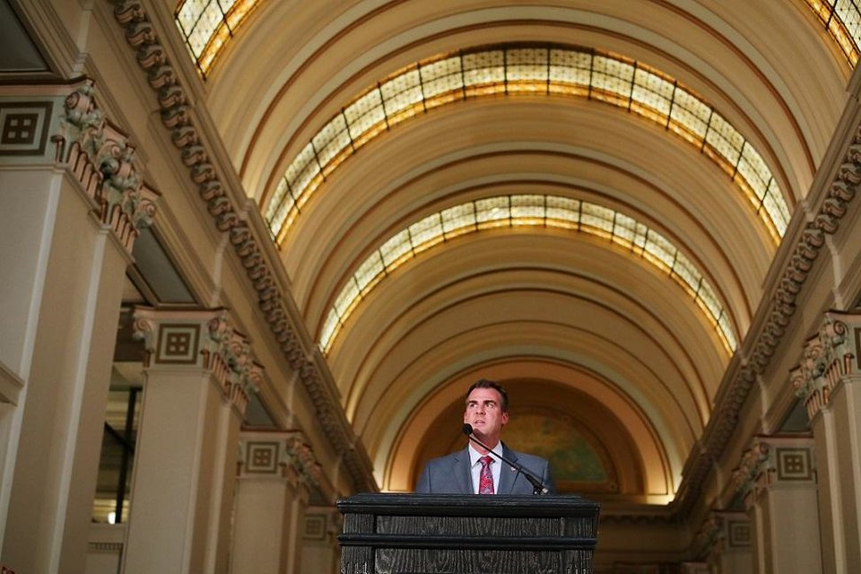 Photo - overnor Kevin Stitt speaks at the Governor's Arts Awards at the Capitol, Tuesday, April 16, 2019. [Photo by Doug Hoke/The Oklahoman]