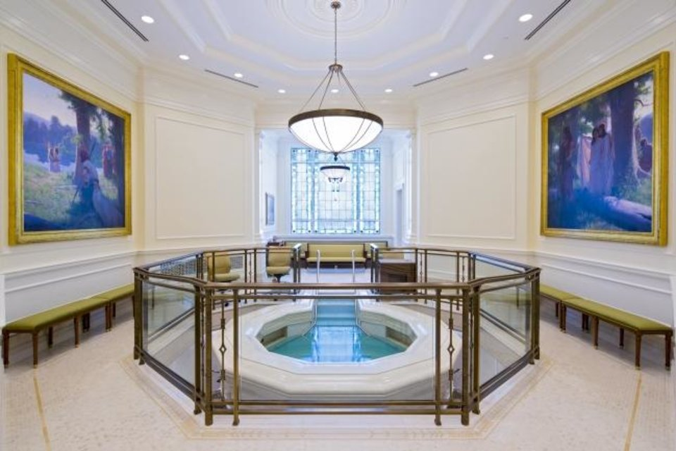 Photo -  The Baptismal inside the new Oklahoma City temple for The Church of Jesus Christ of Latter-Day Saints in Oklahoma City, Okla.   Photo Provided
