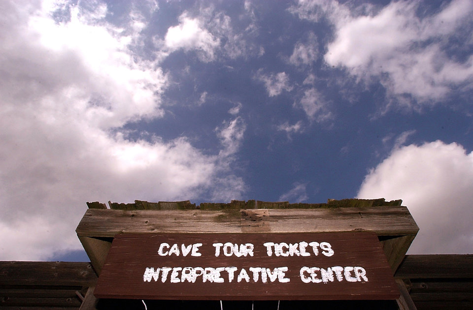 Photo -  A sign welcomes visitors to Alabaster Caverns State Park. The park is one of several Oklahoma state parks celebrating the Aug. 21 eclipse.  [photo by Bryan Terry, The Oklahoman]