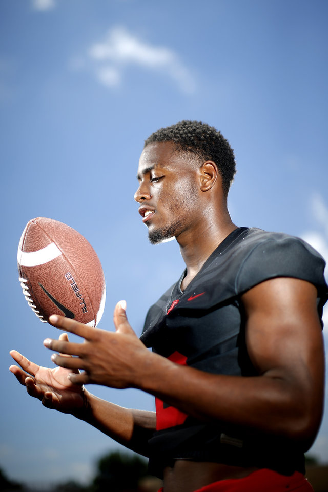 Photo - Del City's Donovan Stephens poses for a photo at Del City High School, Thursday, June 25, 2020. [Bryan Terry/The Oklahoman]