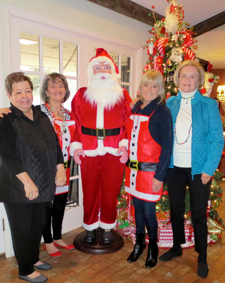 Photo - Tina Stubbs, Kanela Huff, Santa, Sue Magness and Pam Smith. PHOTO BY HELEN FORD WALLACE, THE OKLAHOMAN
