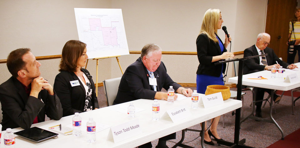 Photo -  From left, Tyson Todd Meade, Elysabeth Britt, Tom Guild, Kendra Horn and Ed Porter, during a Democratic congressional forum in Edmond, Wednesday, May 9, 2018. Photo by Doug Hoke, The Oklahoman