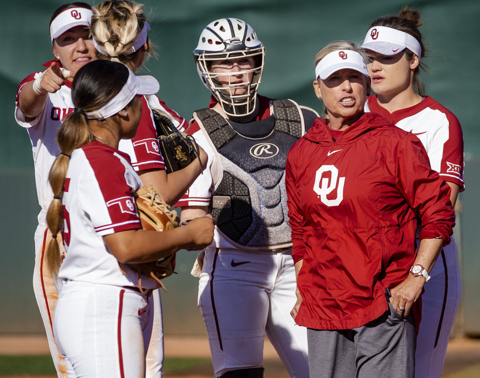 Photo - Oklahoma coach Patty Gasso works with her team during the college softball game between the University of Oklahoma Sooners (OU) and Northwester University Wildcats (NU) at Marita Hynes Field in Norman, Okla. on Friday, Feb. 28, 2020.    [Chris Landsberger/The Oklahoman]