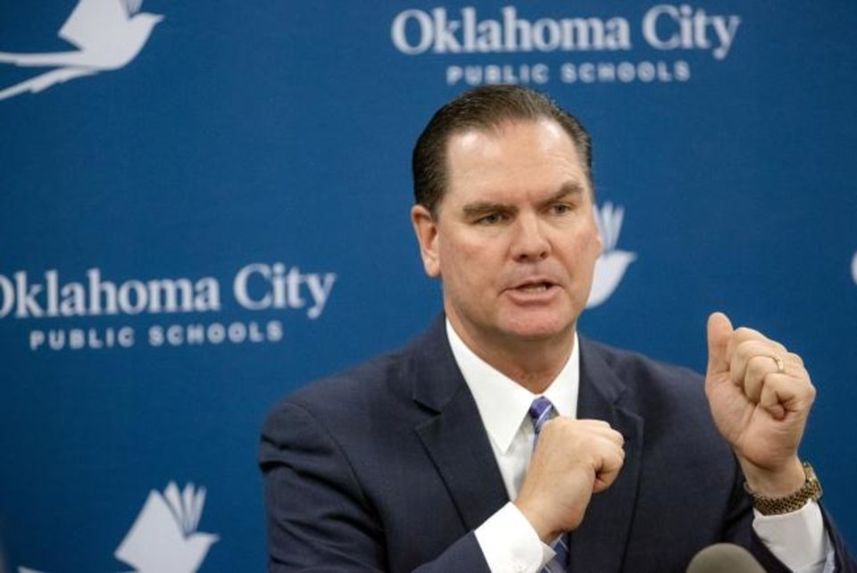 Photo -  Oklahoma City Public Schools Superintendent Sean McDaniel speaks during a press conference Jan. 14 at the Oklahoma City Public Schools Operations Center in Oklahoma City.  [Chris Landsberger/The Oklahoman]