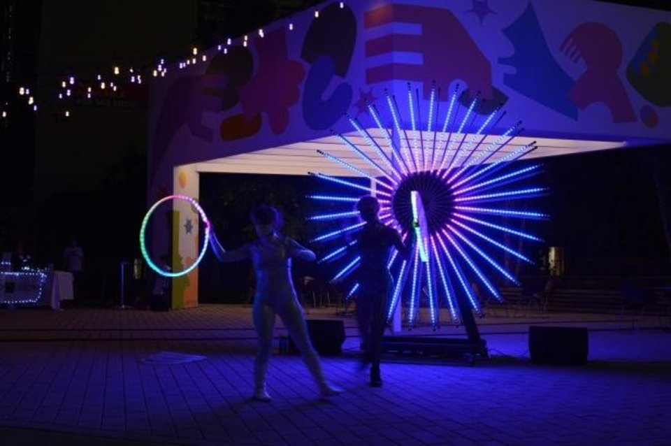 Photo -  Two circus artists perform alongside Factory Obscura's Downtown Starlight Sept. 5 in Kerr Park. [Photo provided]