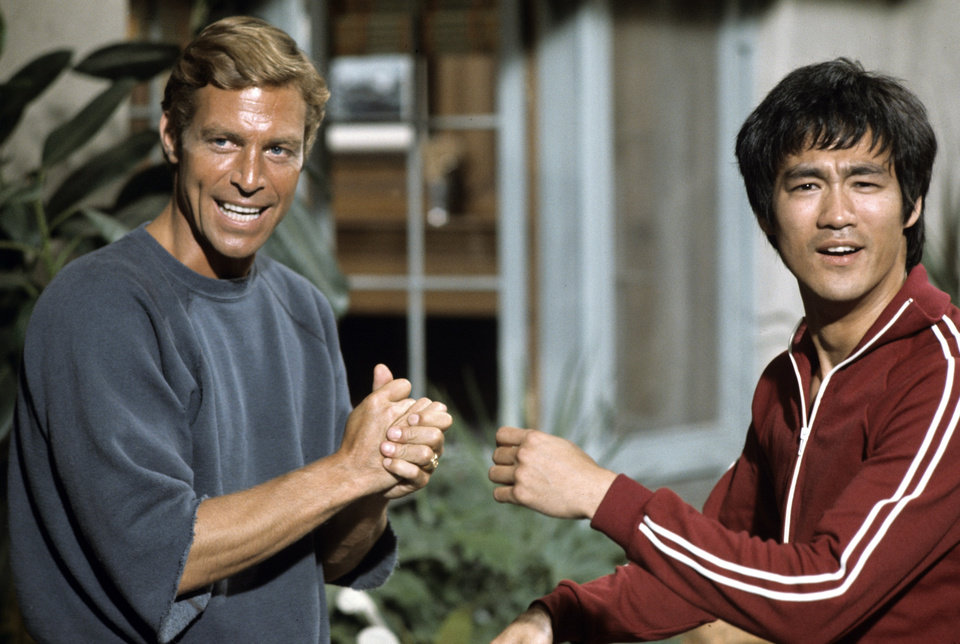 Photo -  Bruce Lee with actor James Franciscus. Lee appared in four episodes of