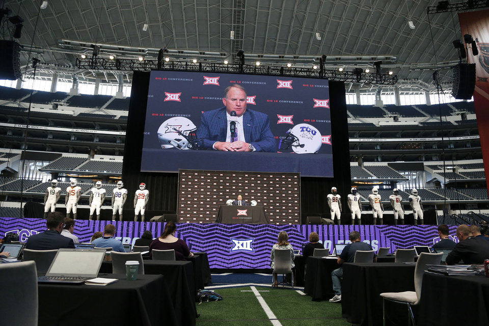 Photo - TCU head coach Gary Patterson at the Big 12 Media Day at AT&T Stadium in Dallas, TX, July 15, 2019. STEPHEN PINGRY/Tulsa World