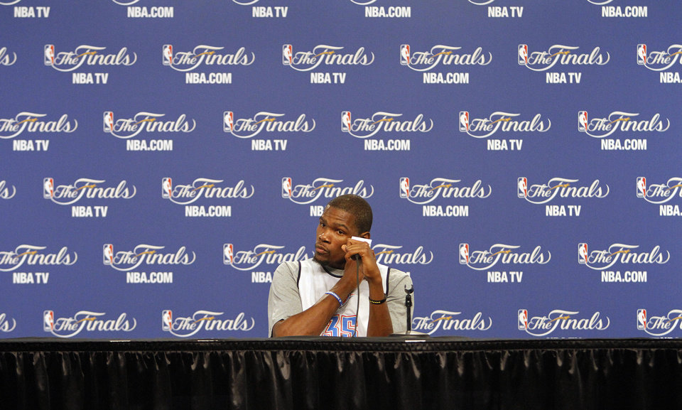 Photo - Oklahoma City's Kevin Durant talks to the media during the NBA Finals practice day at the Chesapeake Energy Arena on Monday, June 11, 2012, in Oklahoma City, Okla. Photo by Chris Landsberger, The Oklahoman