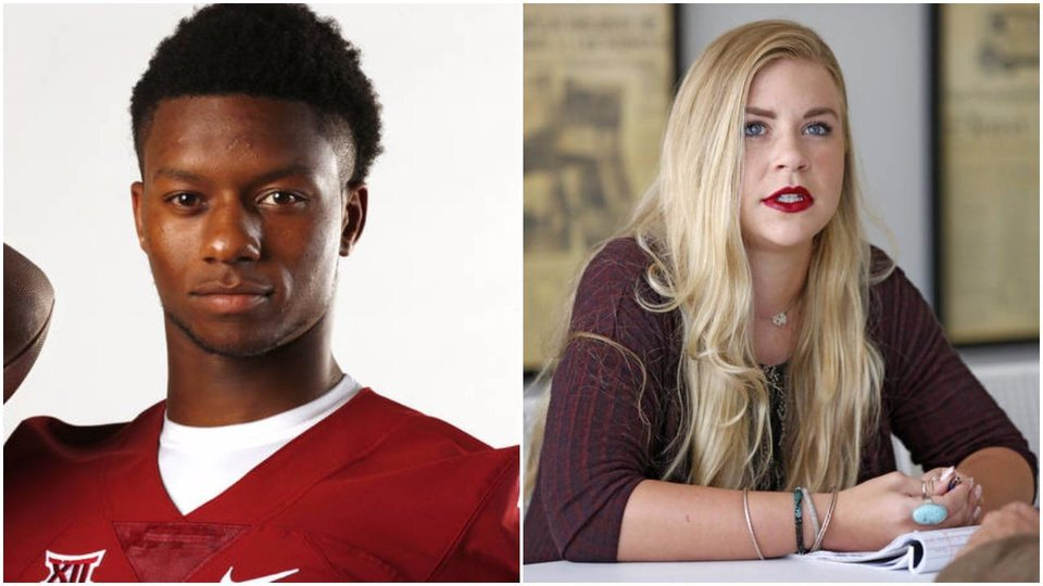Photo - LEFT: Joe Mixon poses for photographs during media day at Gaylord Family-Oklahoma Memorial Stadium in Norman, Okla., on Saturday, Aug. 6, 2016. Photo by Steve Sisney, The Oklahoman RIGHT: Amelia Molitor is interviewed in the offices of The Oklahoman in Oklahoma City, Thursday July, 15 2016. Photo By Steve Gooch, The Oklahoman.