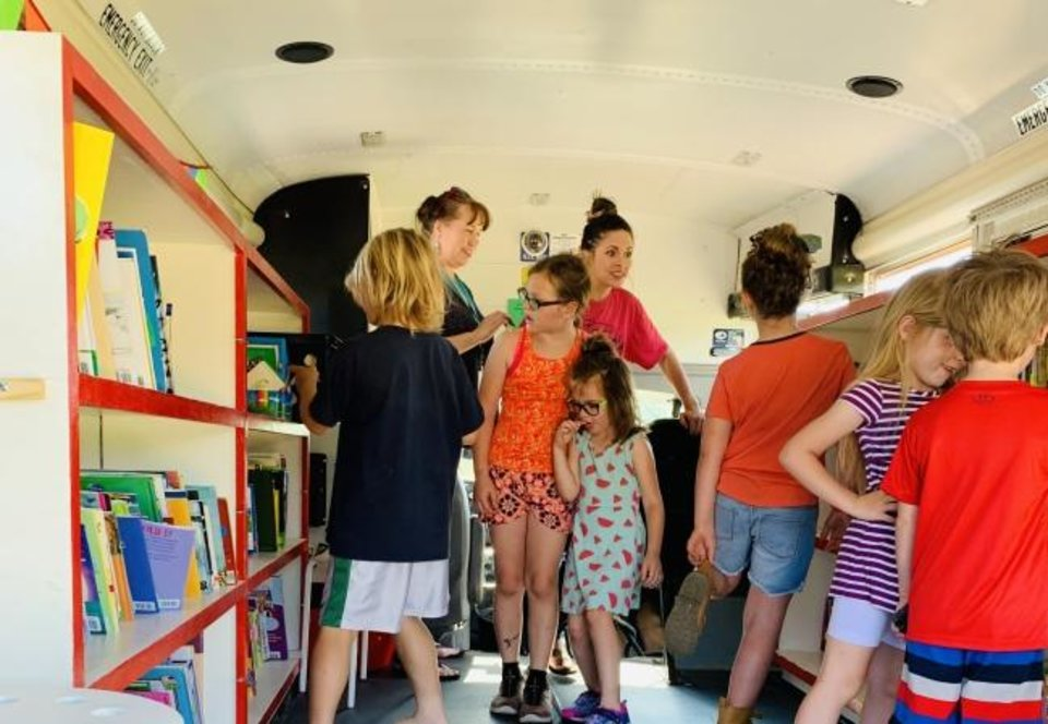 Photo -  Children can explore the Bronco Bus to find a fun summer book. [PHOTO PROVIDED]
