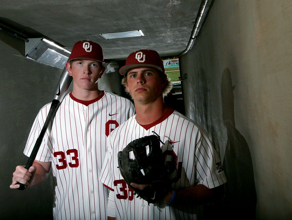 Photo - University of Oklahoma college baseball players Cameron Seitzer (left) and Garrett Buechele pose at L. Dale Mitchell Park on the OU campus in Norman on Monday, May 18, 2009.  Photo by John Clanton, The Oklahoman ORG XMIT: KOD