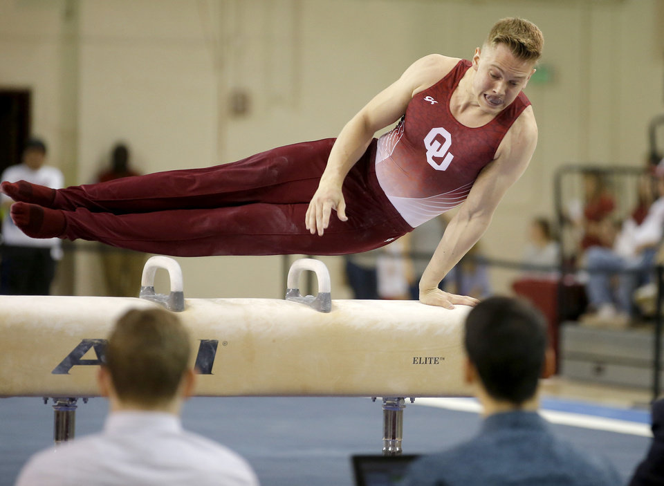 Photo - Oklahoma's Grant Kell competes on the pommel horse during a gymnastics meet with Illinois at McCasland Field House in Norman, Okla., Saturday, March 18, 2017. Photo by Bryan Terry, The Oklahoman